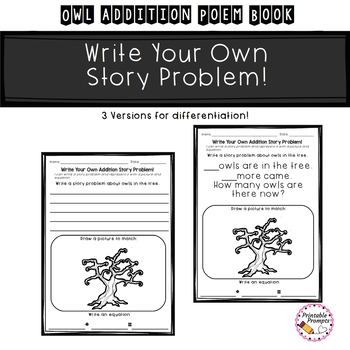 Owl Emergent Reader- Owl Addition