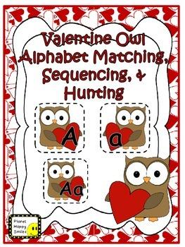 Alphabet Matching Cards ~  Valentine Owl Theme
