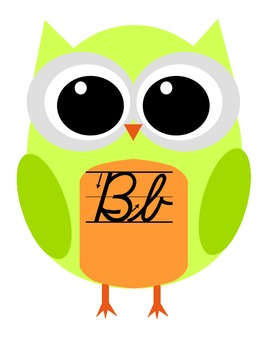 Owl Alphabet Cards D'Nealian Cursive with Arrows
