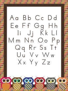 Owl Alphabet Cards and Charts (D'Nealian and Zaner-Bloser manuscripts)