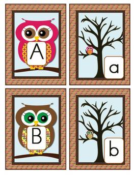 Owl Alphabet Cards and Charts (D'Nealian and Zaner-Bloser manuscripts)