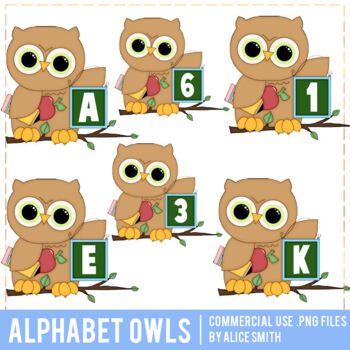 Owl Alphabet Clip Art Graphics by Alice Smith