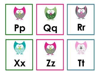 Owl Alphabet Flashcards - Upper and Lowercase together