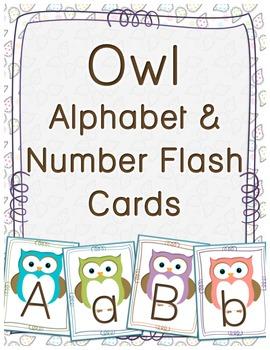 Owl Alphabet & Number Flash Cards