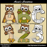 Owl Alphabet & Numbers Clip Art