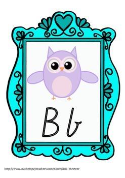 Owl Alphabet Posters A-Z (Super Cute) Victorian Cursive