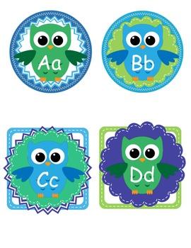 Owl Themed Alphabet Room Labels - Teacher Decor