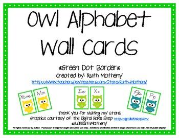 Owl Alphabet Wall Cards Manuscript & Cursive - Green Dot Border