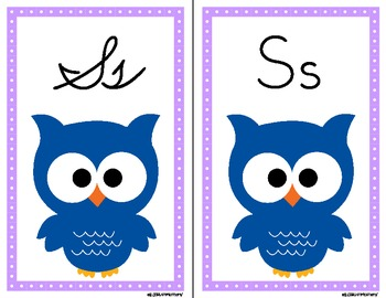 Owl Alphabet Wall Cards Manuscript & Cursive - Purple Dot Border