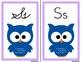 Owl Alphabet Wall Cards Manuscript & Cursive - Purple Dot Border
