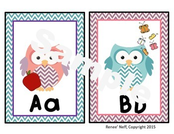 Owl and Chevron Alphabet Wall Posters