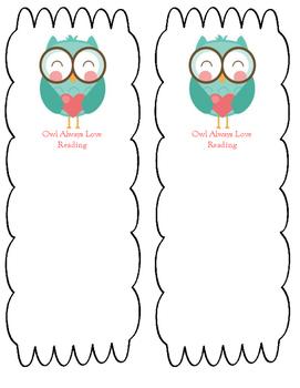 Owl Always Love Reading Bookmark -- Free Download