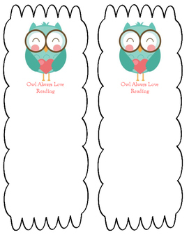 Owl Always Love Reading Bookmark -- Free Download