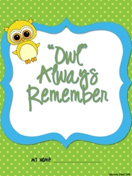 """Owl"" Always Remember End of Year Memory Book"