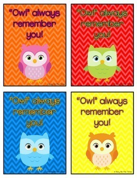 Owl Always Remember You, Gift Tag for Teachers & Students, Last Day of School