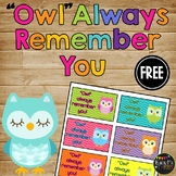 Gift Tag for Teachers & Students, Last Day of School, Owl Always Remember You,