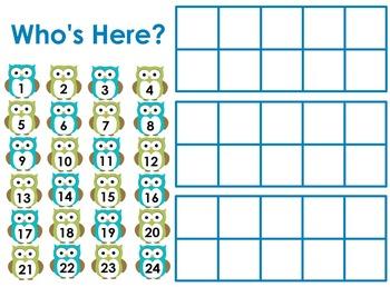 Owl Attendance Ten Frame Flip Chart