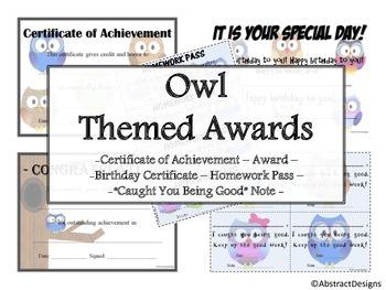 Owl Awards Set