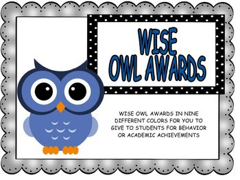 Begin the Year: Owl Awards and Stickers for Behavior and Achievement
