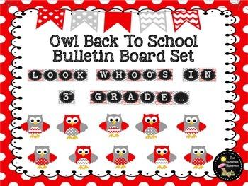Bulletin Board Set: Owl Themed Back To School Board