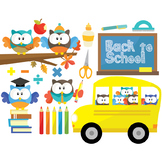 Owl Back To School Clipart Set