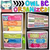 Teacher Toolbox Labels | Sterilite Drawer Labels | Owl Theme | Classroom Decor