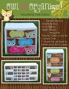Owl Be Organized ( Woodland Owls Edition - Teacher Toolbox and More )