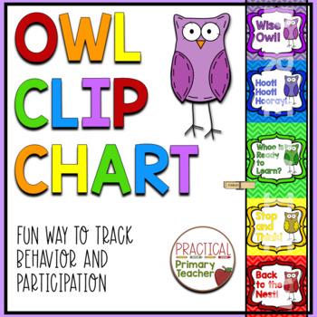 Owl Behavior Chart - Chevron Background - 2016-2017 Calendars Included!