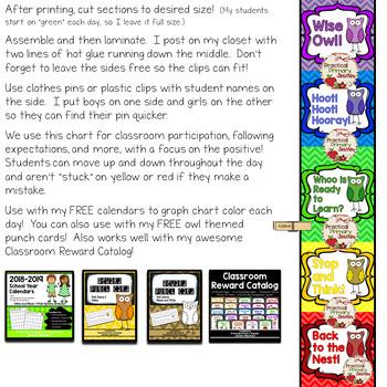 Owl Behavior Chart - Chevron Background - Five sections