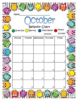 Owl Behavior Chart October