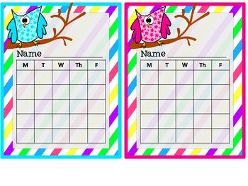 Owl Behavior Charts