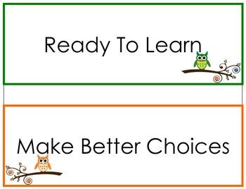 Owl Behaviour Chart
