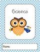 Owl Binder Covers-Lt Blue