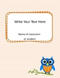 Owl Binder Covers Orange Blue or Grey