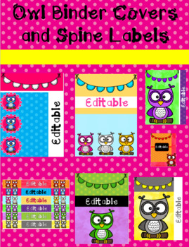 Owl Binder Covers and Spine Labels