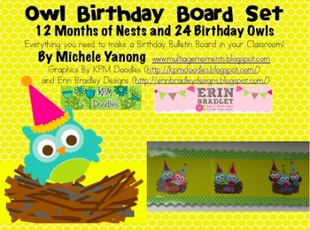 Owl Birthday Board Set