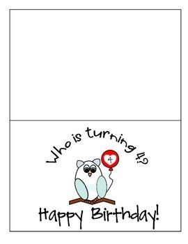 Owl Birthday Card Ages 4-11 Freebie