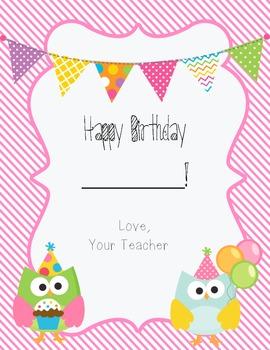 FREEBIE- Owl Birthday Certificate for Girl