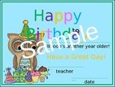 Owl Birthday Certificate
