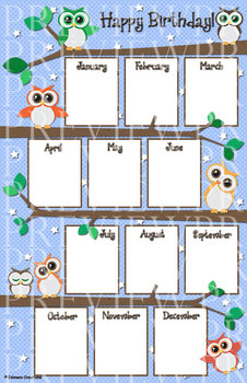 Owl birthday chart by johnson creations teachers pay for Birthday chart template for classroom
