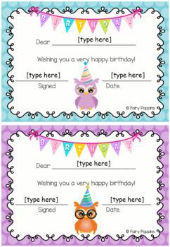 Birthday Charts & Certificates - Owl Theme