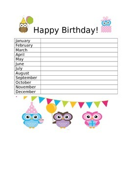 Owl Birthday List