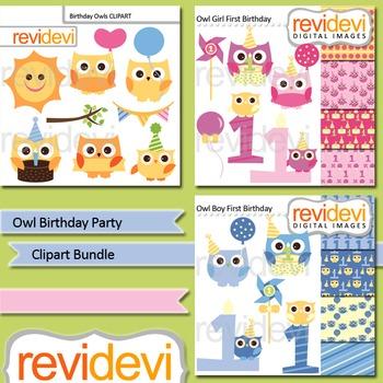 Owl Birthday Party clip art bundle (3 packs)