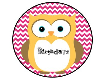 Owl Birthday Posters Green and Pink Chevron