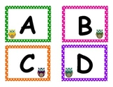 Owl Polka Dot Bookbin Labels (Fountas & Pinnell A-Z)
