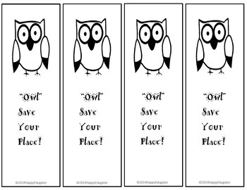 Owl Bookmarks - Owl Save Your Place