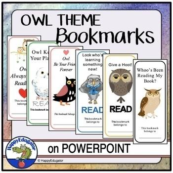 Owl Bookmarks - Set of Six by HappyEdugator | Teachers Pay ...