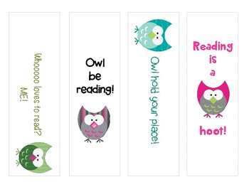Owl Bookmarks for your students!