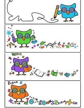 Owl Borders Clipart