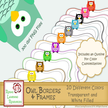 Borders and Frames: Owls Clipart - 10 Colors